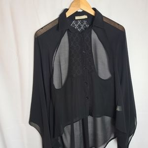 Lush cut out back chiffon ad lace with wide sleeve